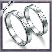 Anillo de compromiso de plata sólido simple de calidad superior de la moda para el regalo