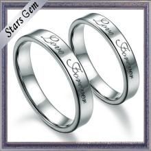 Anel de noivado de prata sólida simples qualidade superior de moda para presente