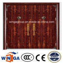 Double Size High Quality Exterior Sicherheit Stahl Metall Tür (W-SD-01)