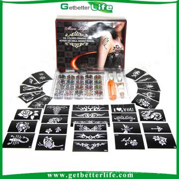 getbetterlife 2015 Sparkle temporales Glitter Tattoo Kit 20 colores 30 PC Kits tatuaje tatuaje plantilla brillo diamante