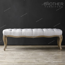 Classic wooden frame button long fabric ottoman foot stool
