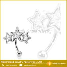 Anneau en cristal chirurgical adapté aux besoins du client de l'anneau triple de sourcil d'étoile chirurgicale de la taille 316L