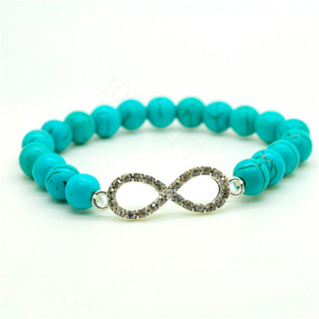 Turquoise 8MM Round Beads Stretch Gemstone Bracelet with Diamante 8-shape Piece