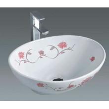 Lavabo de cerámica de baño con flores (7007F)