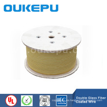 fibra de vidrio de alta temperatura la bobina de alambre, vidrio fibra envuelta alambre rectangular, daul hilado cubierto alambre plano