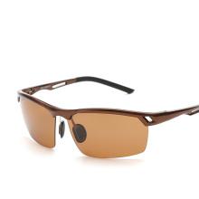 Солнцезащитные очки Авиатор алюминиево-магниевого мужчин Поляризованные Солнцезащитные очки Мужской вождения Рыбалка Открытый черноты аксессуары