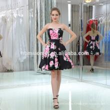 Mode-Modell Digitaldruck sleeveless Frauen Kleid trägerlosen großen Saum Design Lady Kleid