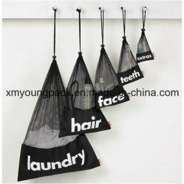 Bolsa de lavado de lavado de malla de nylon negro grande con cordón