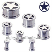 star ear plug ear taper jewelry screw tunnel piercing
