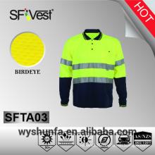 Vêtements de haute visibilité 3m ruban réfléchissant bouton de haute visibilité chemises tissu de poly-coton sec et frais AS / NZS 1906.4: 2010
