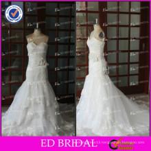 ED Bridal White Real Sample Lace Flower Appliqued Mermaid Wedding Dresses