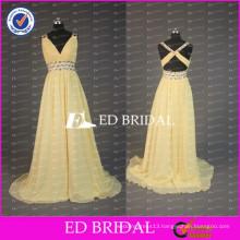 ED Bridal Yellow Chiffon V Neck Crisscross Back Sleeveless Beaded Sash Prom Dress 2017