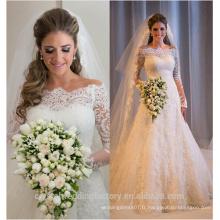 Sexy Tulle Lace Appliques Bateau Neck Country 2016 Vestido De Noiva Robe De Mariage Robes de mariée sirène à manches longues CWFw2282