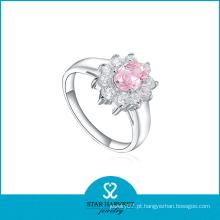Mais recente moda rosa cz anel de prata para o casamento (r-0170)