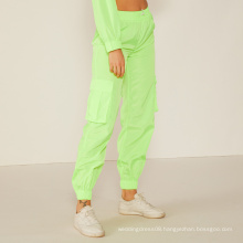 WEIXIN New Arrival Casual Sport Ruched Detail Green Neon PantsWomen Clothing