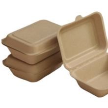 disposable paper bamboo pulp takeaway box sugar cane food packaging fiber round clam noodle pizza plant