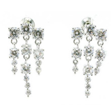 Top Quality & Fashion Jewelry 3A CZ 925 Silver Earring (E6518)