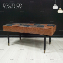 Banc en cuir de pieds de bois de bouleau vintage de haute qualité Tabouret spécial de sofa