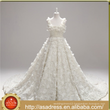 ASWY13 Real Sample Square Neckline Hand made 3D Flowers Pearls Ball Gown Luxury Heavy Beading wedding gowns 2017 bridal