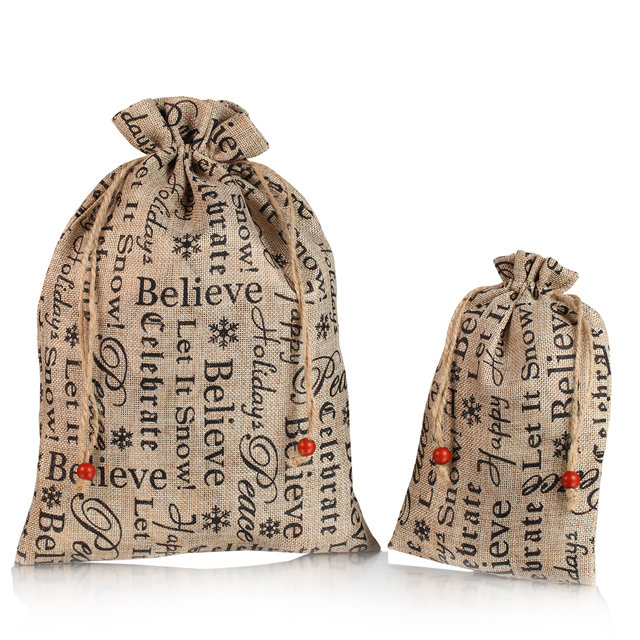 custom word printing linen drawstring bag wholesale