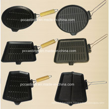 Preseasoned Cast Iron Grill Pan with Wooden Handle