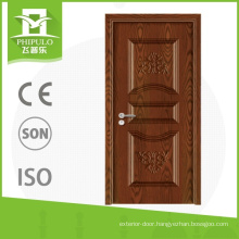 Front door safety design single leaf wood composite door with high quality from zhejiang china
