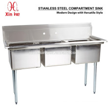Freestanding Stainless Steel Commercial 3 Three Compartment Sink for Restaurant Catering
