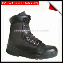 Black leather military boots with light weight