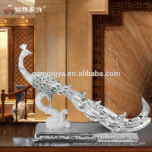 Abstract sculpture high class elegant beautiful peacock statue with jewlery resin arts home decor