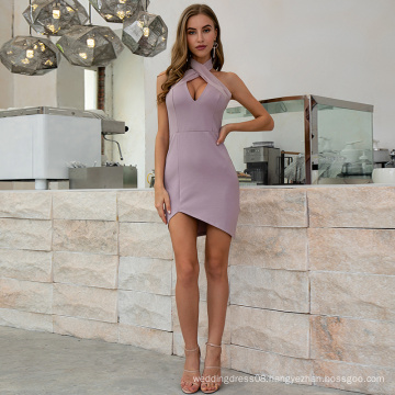 Weixin Shein New Style Sleeveless X Cross Halter Knotted Pink Wrap Bodycon Club Dresses
