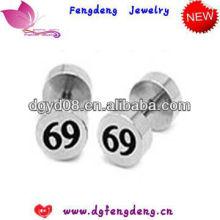 (WS3317) 2013 bonne qualité Boucles d'oreilles nombre d'acier inoxydable