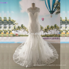 Mermaid Wedding Dress Cap Sleeves Small V Neck Tulle Lace Applique Bridal Dress