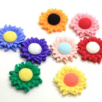 Kawaii Colorful Girasol 34 mm Resina Flatback Cabochon Scrapbooking para teléfono Craft