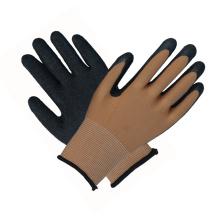 Gants de sécurité noirs de protection en latex revêtu de main-d'œuvre