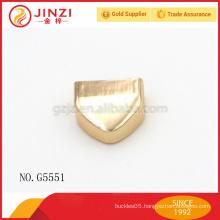 triangle shape zipper end, metal shiny gold zipper end, zipper end for handbag or clothes zipper