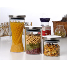 Hot sale green tea glass Jar with stainless Steel Lid,glass canist