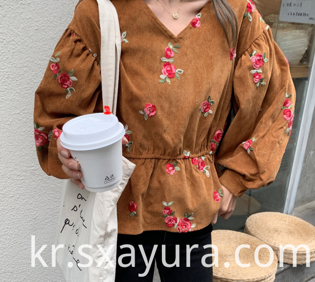 Autumn 2020 new fashion casual V-neck embroidered top