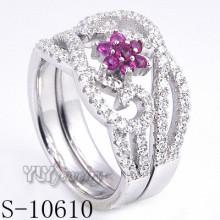 925 bague en argent sterling en argent de zircon rose fleur (S-10610)