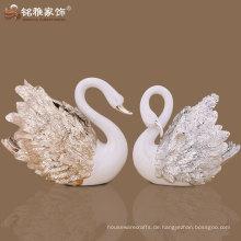 Home Dekorative Delicate Crafts Schwan Ornament Liquid Gold Polyresin Schwan Statue Schwan Figurine Hochzeit Romantische Geschenk