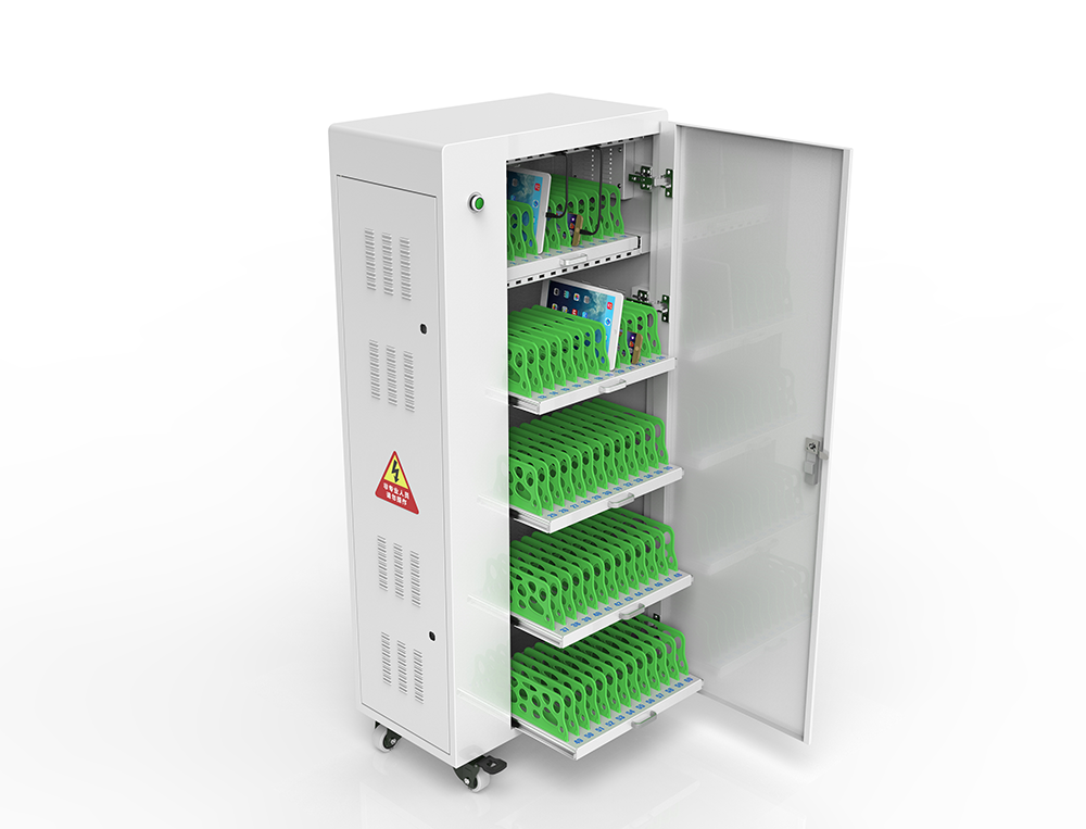 Smart timer battery charging carts in classroom
