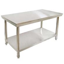 Mesa de trabajo de mesa de comida de 2 capas para restaurante de acero inoxidable