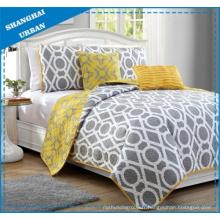 Ensemble de couvre-lit réversible en polyester imprimé cercle jaune gris