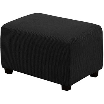 Jacquard Checked Stretch Storage Ottoman Covers Slipcovers