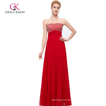 Grace Karin Strapless Backless Beaded Long Red Prom Dress CL3083-1
