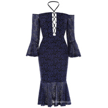 Kate Kasin Sexy Womens Off the shoulder Lace Hips-Wrapped Mermaid Navy Blue Bodycon Pencil Dress KK001050-1