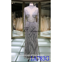 1A783G Sexy Smoky Grey See Through With Lace Vestido de casamento muçulmano de manga longa 2016