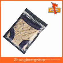 Bolsa de ziplock em alumínio claro para embalagens de roupa interior