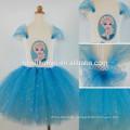 Hot sale children blue flowers chiffon handmade long tutu dress for girls