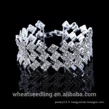 Bracelet Bracelet en Cristal Argenté Multicouches Three In One