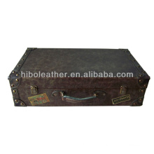 Guangzhou manufacture vintage faux leather suitcase